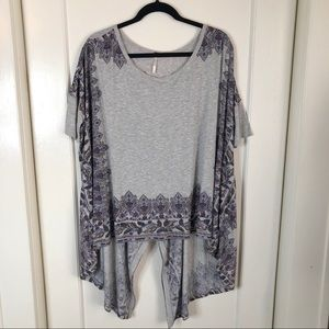 Free People High Low Paisly Waterfall Blouse Small